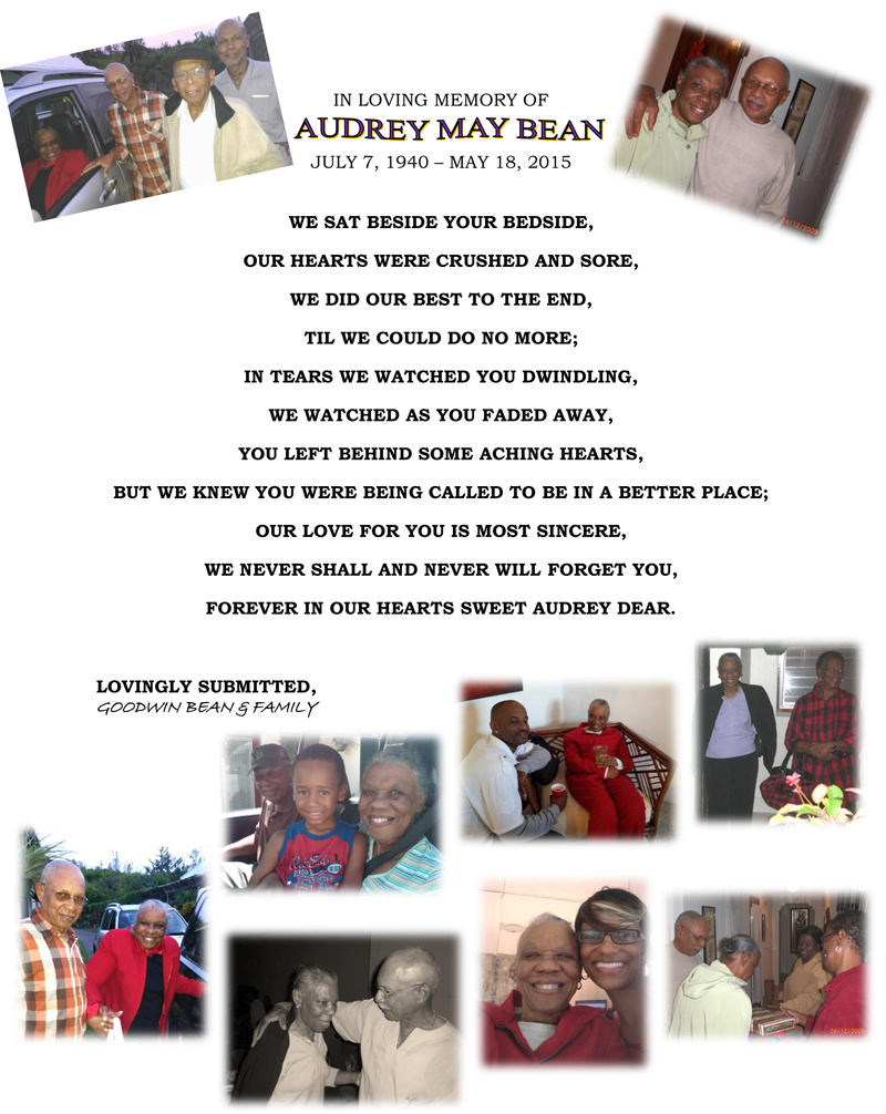 In Loving Memory of Audrey May Bean Bermuda May 18 2016