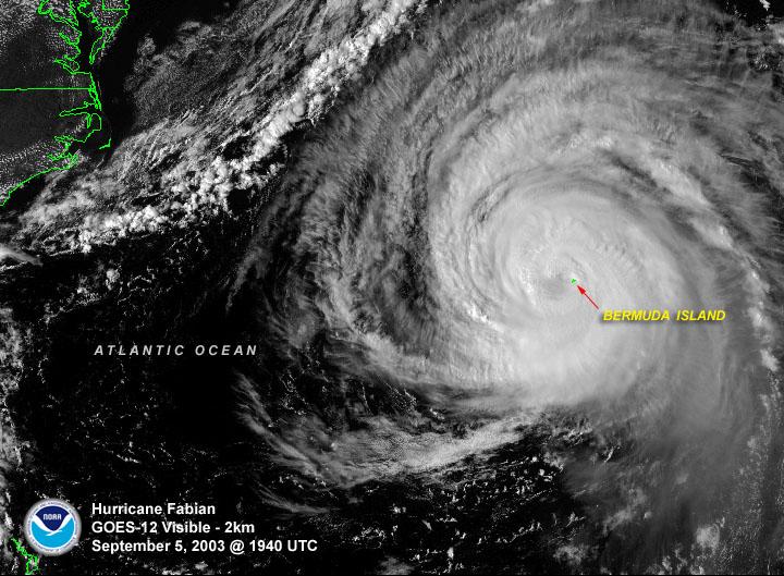 NASA imagery of Hurricane Fabian, Sept. 2003