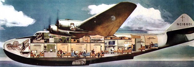 Contemporary cutaway illustration of the interior of a Boeing 314