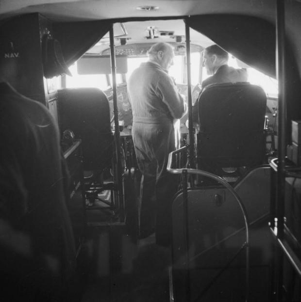 Winston Churchill in the cockpit of the Berwick
