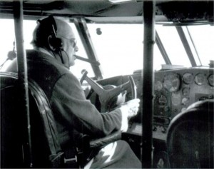 Winston Churchill at the controls of the Berwick