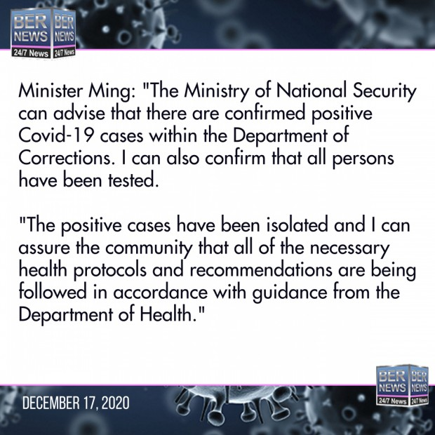 Minister Ming prisons comment December 2020 Covid Bermuda